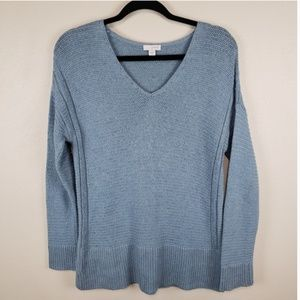 Pure Jill knitted v-neck sweater blue size xs